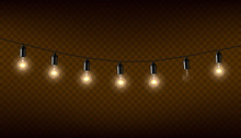 Vector Garland Of Lamps On Bro...