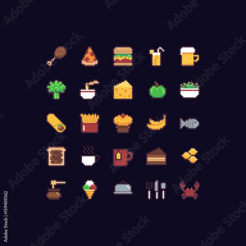 Ikony żywności Pixel Art