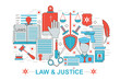 Modern Flat thin Line design Law and justice concept for web banner website, presentation, flyer and poster.