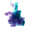 Colors dropped into liquid and photographed while in motion. Cloud of silky ink in water on white isolated background, an abstract banner.