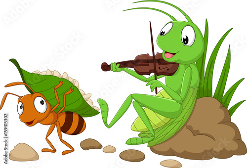 Photo Cartoon the ant and the grasshopper