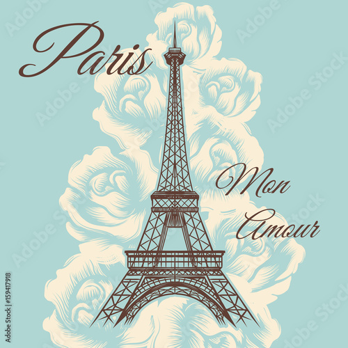 Paris mon amour lub Paris my love vintage poster with Eiffel tower and roses. Ilustracji wektorowych