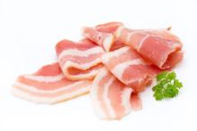 Bacon Isolated On White Background. Delikatese Food.