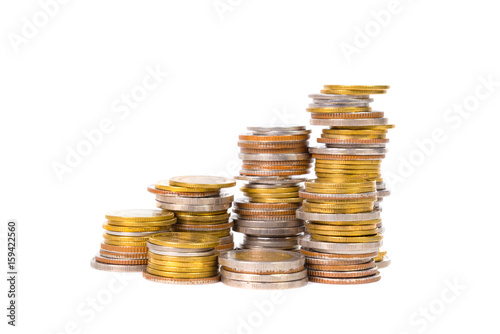 Columns Of Coins Piles Of Coins On White Background Buy