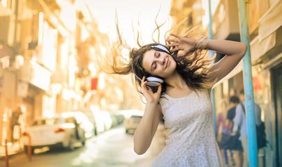 Girl enjoying and listening...
