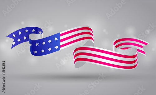 Banner With American Flag Ribbon Usa Flag Symbol 4 July Buy This