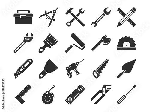 Fototapeta Construction and engineering tools silhouette vector icons obraz na płótnie