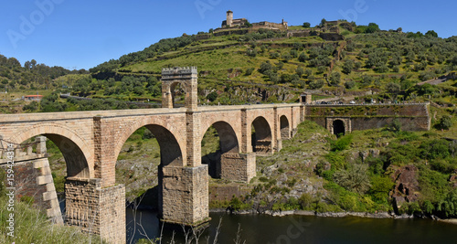 Roman bridge over the Tajo river in Alcantara, Caceres province, Extremadura, Sp Canvas Print