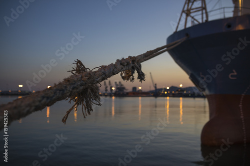 Canvas Print Boat moored in port
