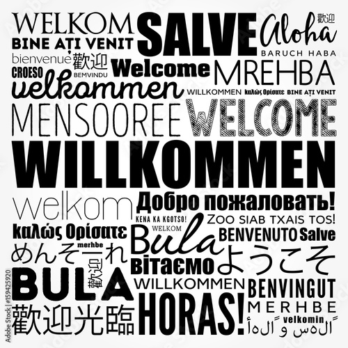 Willkommen, Welcome in German, word cloud in different languages, conceptual bac Canvas-taulu