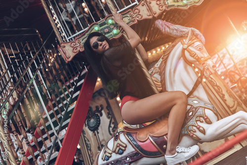 Beauty on merry-go-round. Tablou Canvas