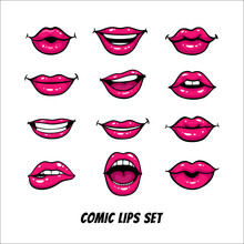 Comic Female Lips Set. Mouth W...