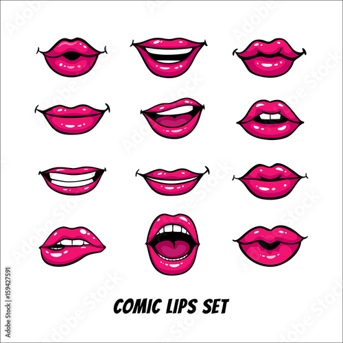 Juliste  Comic female lips set