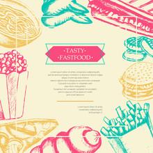 Fast Food - Color Hand Drawn Vintage Postcard Template.