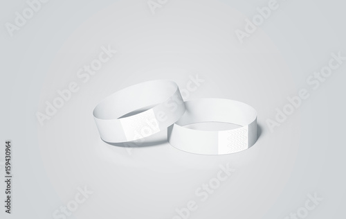 Blank White Paper Wristbands Mock Ups Rendering Empty Event Wrist Bands Design Mockup