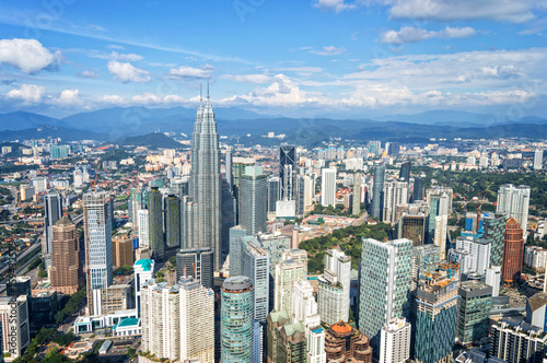 Plagát Aerial view of Kuala Lumpur skyline, Malaysia, Asia business travell concept