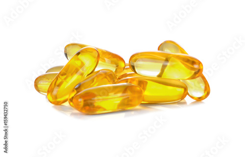 Valokuva  Fish oil omega 3 gel capsules isolated on white background