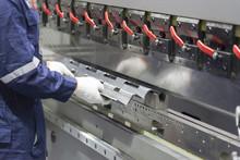 The Technician Operator Use Hydraulic Bending Machine. Metal Working Concept