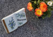 Christentum Grab Mit Offenem Buch Und Kunstblumen Als Grabschmuck - Christianity Grave With Open Book And Artificial Flowers As Grave Decoration
