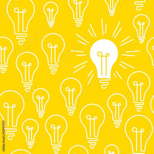 Obraz Concepts, idea, creativity, light bulb, seamless pattern - fototapety do salonu