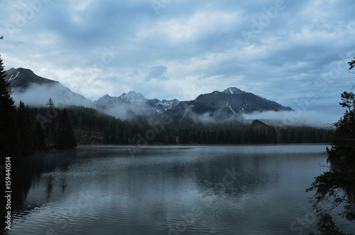 Aluminium Prints Dark grey mountain lake