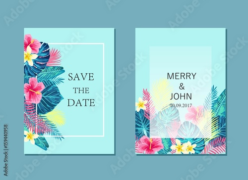 Set of summer exotic and tropic card design.