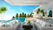 Leinwanddruck Bild -  A Modern Beach House,  private swimming pool ,panoramic sky and sea view , 3d rendering