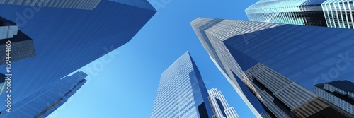 Fotobehang Aan het plafond Skyscrapers, city landscape Modern city with skyscrapers and a beautiful view 3D rendering