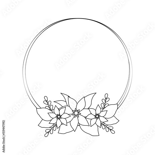 Fototapety, obrazy: Round frame with flowers icon vector illustration graphic design