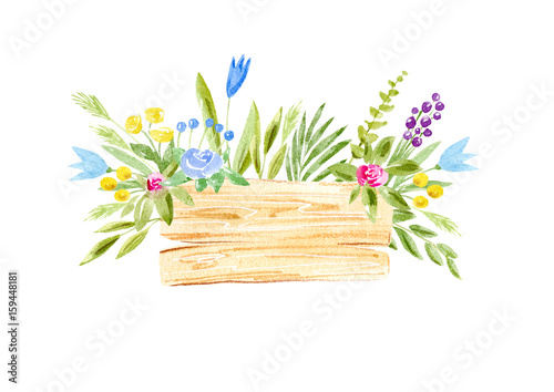 Wood slice and flower wreath.Cross section tree.Watercolor hand drawn illustration.White background.