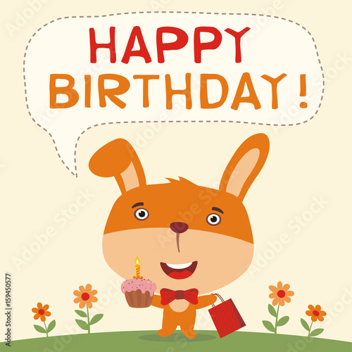 Happy Birthday Funny Rabbit With Cake And Gift Card Bunny In Cartoon Style For Child