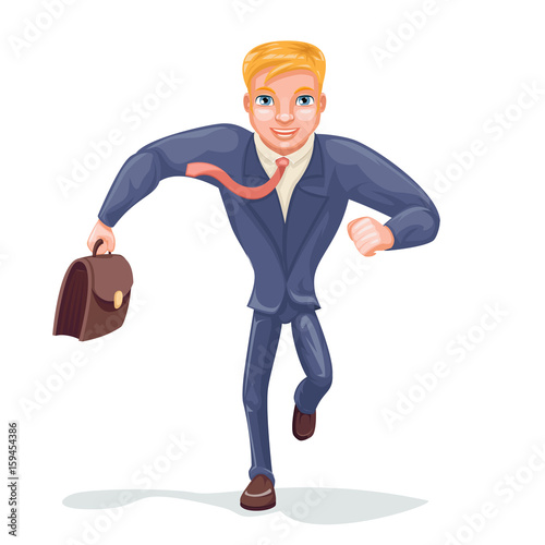 Foto op Canvas Sprookjeswereld Running Businessman Hurry for Meeting Character Icon Isolated Cartoon Design Vector Illustration
