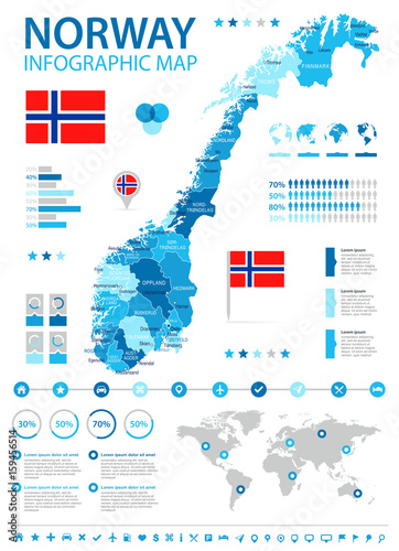 Norway - map and flag - infographic illustration Fototapet