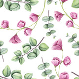 Bezszwowy wzór Akwareli światło - zieleń opuszcza i Mali Różowi kwiaty - 159457344