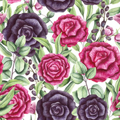 Obraz na PlexiSeamless Pattern of Watercolor Leaves, Pink and Black Roses