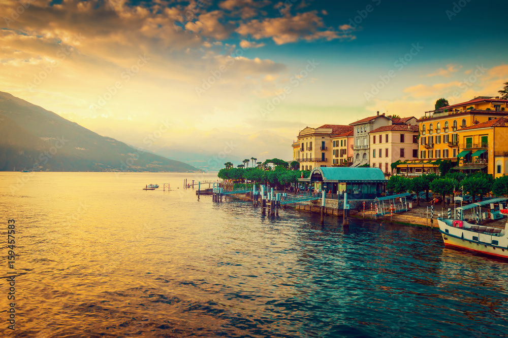 Fototapety, obrazy: Scenic Como lake and Bellagio town at sunset, Italy. Landscape.