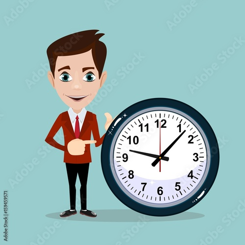 Vector Illustration Of A Smiling Cartoon Businessman With Alarm