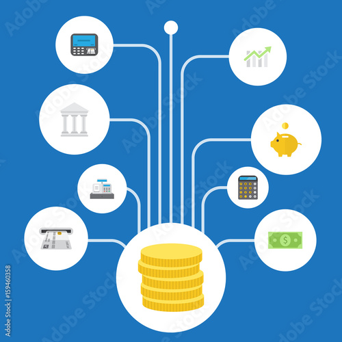 Flat Icons Accounting Money Small Change And Other Vector Elements Set Of Banking