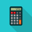 Calculator flat illustration with long shadow. Vector