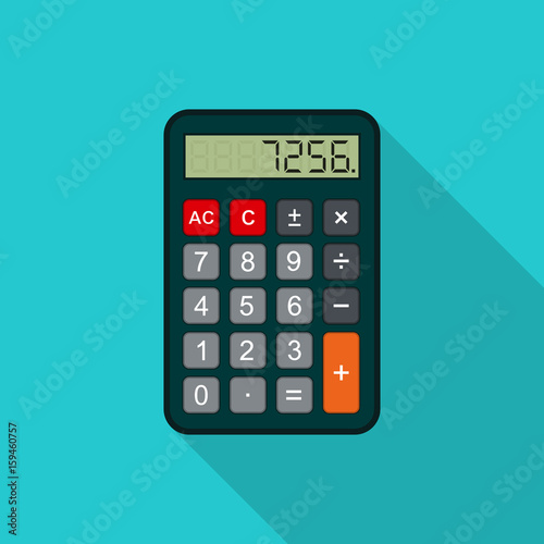 Fotografía  Calculator flat illustration with long shadow. Vector