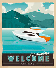 Vector Travel Poster In Vintage Style. Retro Voyage Illustration For Advertising.