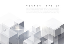 Vector Illustration Of White Background With Gray Abstract Polygon Pattern. An Excellent Advertising Poster, Print, Template For Business Report
