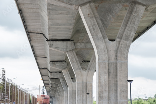 Bridge abutment / View of bridge abutment of elevated expressway. Canvas Print