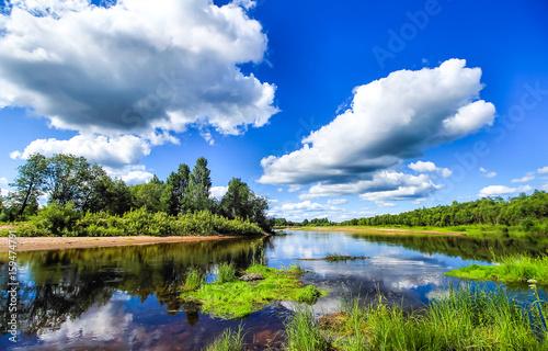 Printed kitchen splashbacks River Summer river blue sky clouds nature landscape