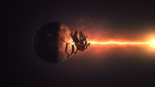 Fiery Laser Destroying The Sphere 3d Illustration