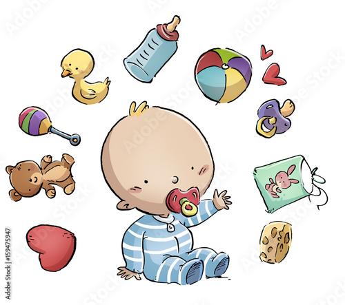 Vászonkép bebe feliz rodeado de juguetes
