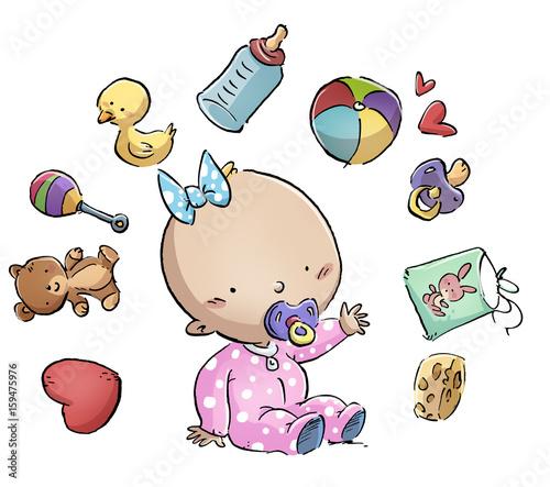 bebe  rodeado de juguetes Canvas Print