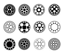Set Of  Apollonian Gasket Fractals - Vector Illustration