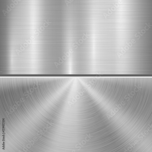 Valokuva  Metal technology background with circular and straight polished, brushed texture, chrome, silver, steel, aluminum for design concepts, web, prints, posters, wallpapers, interfaces