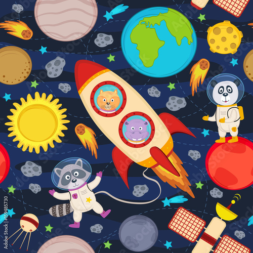 seamless pattern with rocket and animals - vector illustration, eps Wallpaper Mural
